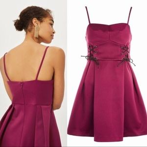 Topshop Lace-up Corset Waist Berry Satin Minidress
